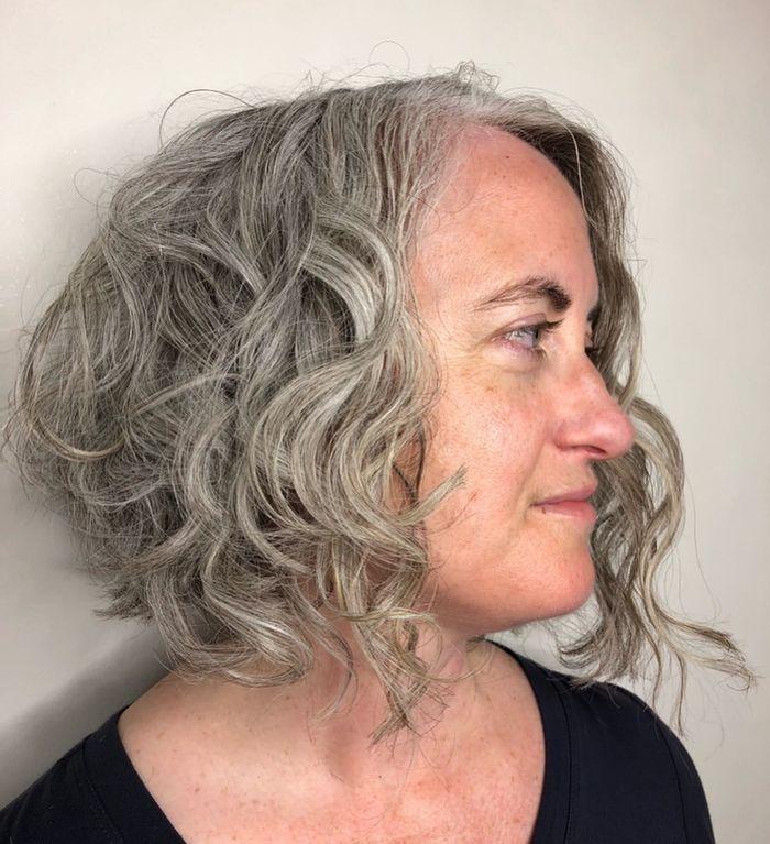 Angled Bob for Gray Hair