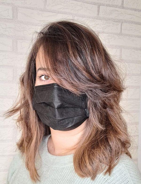 Layered Side Bangs on Medium Hair